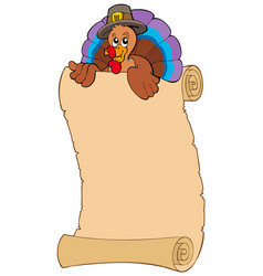 thanksgiving scroll with turkey 2 vector image