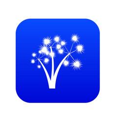 Three spiky palm trees icon digital blue vector