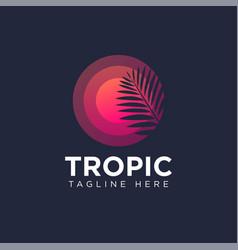 tropic logo circle like sun palm leaf spa resort vector image