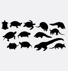 turtle and anteater animal silhouette vector image
