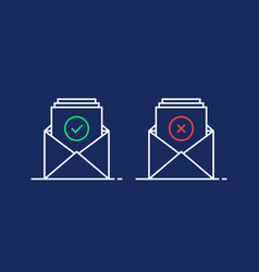 two linear email like confirm and reject vector image