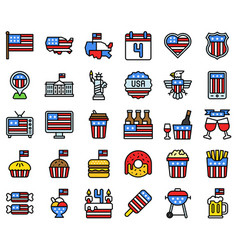 United state independence day filled icon set vector