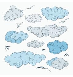 Vintage clouds set vector