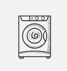 Washing machine hand drawn sketch icon vector