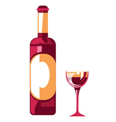 Wine bottle and glass organic farm product vector
