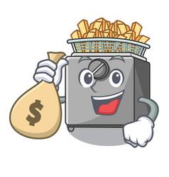 With money bag cartoon deep fryer in the kitchen vector