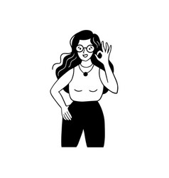 Woman with gesture of ok sign human emotion sign vector