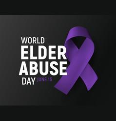 World elder abuse day banner poster for awareness vector