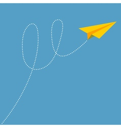 Yellow origami paper plane dash line track with vector image