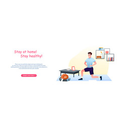 young man doing sport exercises at home vector image