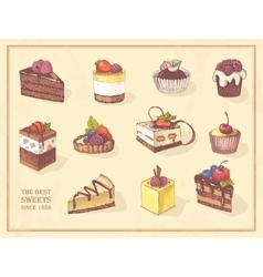 Colored sketches of cupcakes berry pie and vector image