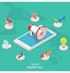 Digital marketing isometric flat concept vector image vector image