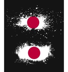 Grunge japanese ink splattered flag vector image