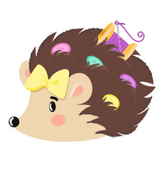 Hedgehog with buttons vector