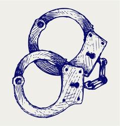 Metallic handcuffs vector image vector image
