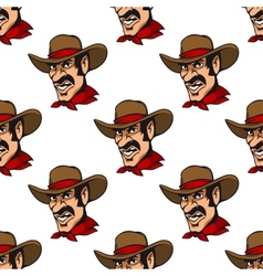 Seamless background with cowboy in hat vector image
