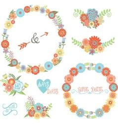 Wedding Flower Elements set vector image