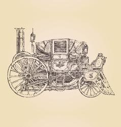 carriage steam punk vintage engraved vector image