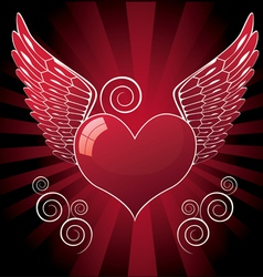 glossy heart with wings vector image vector image