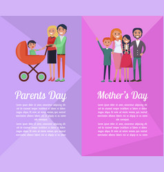 set of banners devoted to parents mother s days vector image vector image