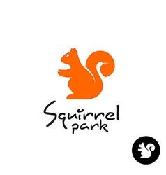 Squirrel logo Cute small sitting squirrel symbol vector image