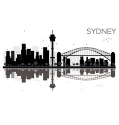 sydney city skyline black and white silhouette vector image