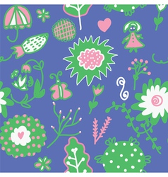 Whimsical floral seamless pattern vector image vector image