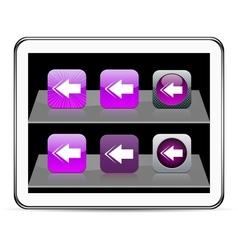 Back arrow purple app icons vector image