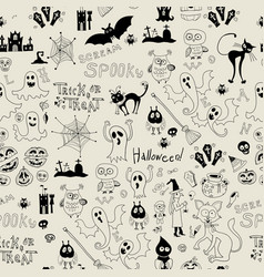 halloween seamless pattern with icons vector image vector image