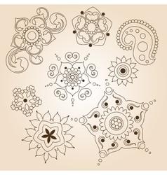 Henna tattoo doodle set Mehndi linear elements on vector image
