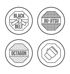 MMA Sport icons set Thin Line Style vector image vector image