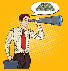 Pop art businessman looking in spyglass vector
