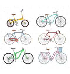 set of hand drawn bicycles modern and retro style vector image vector image