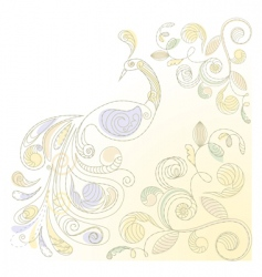 vector floral background with peacock vector image