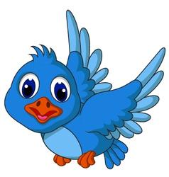 Funny blue bird cartoon posing vector image vector image