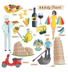 Italy culture travel icons set vector image