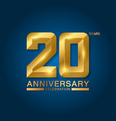 20 years anniversary celebration logotype golden vector image