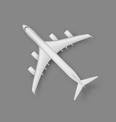3d top view wite plane with shadow vector image