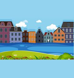 A town next to river vector
