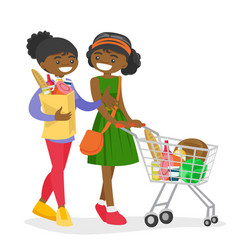 African women doing shopping at the grocery shop vector