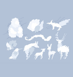 animal shaped cloud set vector image