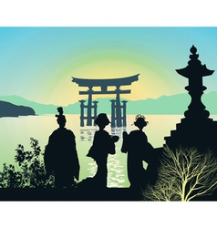 attractions japan vector image