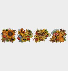 autumn cartoon doodle designs set vector image