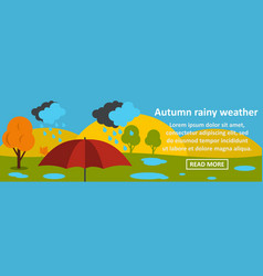 autumn rainy weather banner horizontal concept vector image