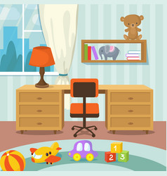 Baby room interior with bed and toys in flat style vector