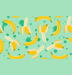 banana seamless pattern half peeled banana on vector image