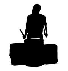 black silhouette of a musician playing the drums vector image