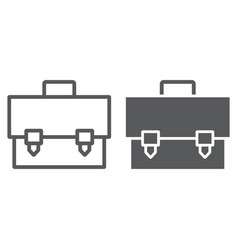 briefcase line and glyph icon bag and suitcase vector image