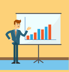Businessman near board with financial chart vector