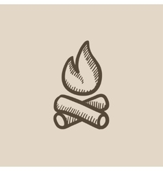 Campfire sketch icon vector image